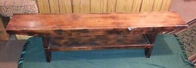 "Vintage Antique 72"" Long Hand Made Primitive Wood Barn Bucket Bench Stool Seat"