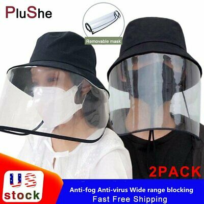 2Pack Unisex Anti-Saliva Fisherman Cap Hat Full Face Cover Shield Protective US