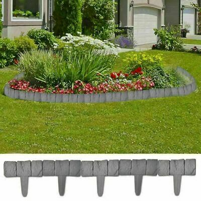 Pack of 20 Grey Stone Effect Garden Lawn Grass Edging Plant Flower Bed Border 5m
