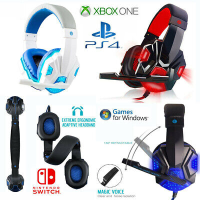 Gaming Headset For Xbox One, PS4, Nintendo Switch & PC 3.5mm Mic Headphone ☊uk