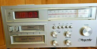 Vintage Retro 1981 AI Rhapsody 8-Track Cassette Digital Clock Radio All In One