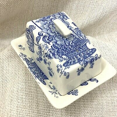 Antique Crown Devon Butter Dish Blue & White Cheese Cover & Stand Plate