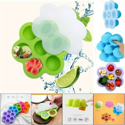 UK Baby Silicone Weaning Kid Food Freezer Tray 7 Pots Storage Container with Lid