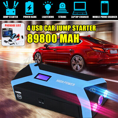 US 89800mAh Car Jump Starter Pack Booster LCD +4 USB Charger Battery