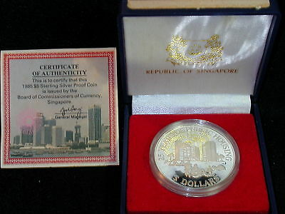 S-51: SINGAPORE Silver PROOF,5 $,1985,20 Years Public Housing , cw Cert/Case