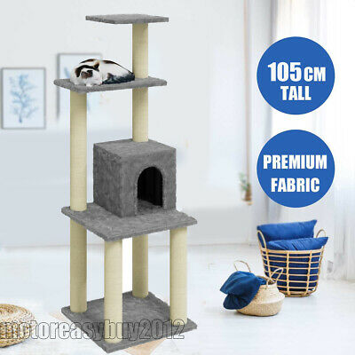 Cat Tree Tower Cat Bed Toy Scratching Post Climbing Activity Centre Dark Grey UK