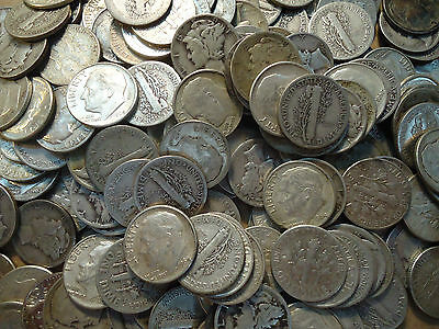 Ten Survival 90% Silver Dimes 5 Mercury And 5 Roosevelts