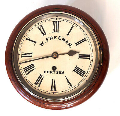 * Antique 8 INCH Dial Mahogany Chain Fusee Wall School Clock FREEMAN PORTSEA