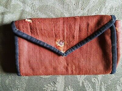 1700s New England Sewn Woolen/Paper/Cotton Women's Wallet or Sewing Case 1700's