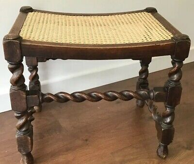 Vintage Oak Stool With Bergere Style Seat And Barley Twist Stretchers