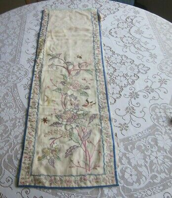 Antique Chinese Embroidered On Silk Panel