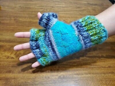 High Quality Winter Knitted Fingerless Gloves Convertible 100% Wool Mittens