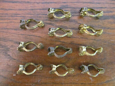 Antique Brass Clam Shell Curtain Claw Clips Rings -  Lot of 11 1.3/8""