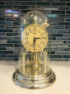 Vintage Elgin Anniversary Quartz Clock Glass Dome & Porcelain Dial Made In Japan