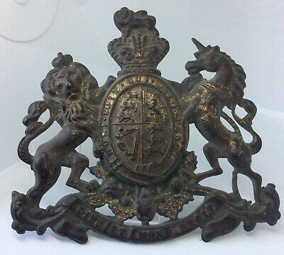 Antique Victorian Royal Coat Of Arms Safe Plaque Badge Brass Plate Sign