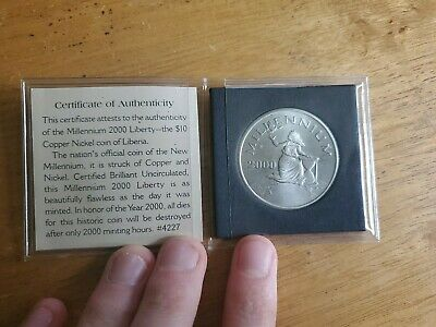 2000 Millennium Liberty $10 Dollars Coin Republic of Liberia