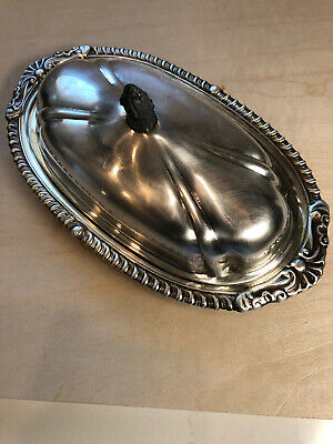 Vintage SHERIDAN Silver Plated Covered Butter Dish