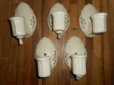 Vintage ART DECO Lot of 5 PORCELAIN Ceramic Floral Wall Light Sconce Fixtures