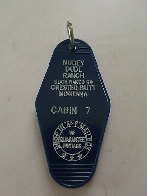 Vintage Motel  Hotel Key Chain Ring Nudey Dude Ranch
