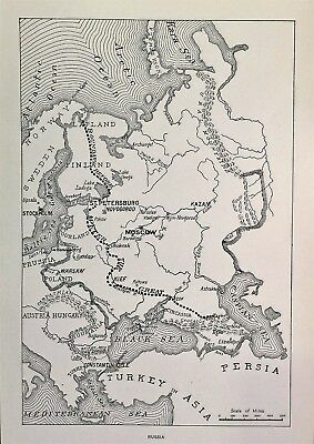 """RARE 1882 Steel Engraving """"Russia"""" ~ A Map Of 19th Century Russia"""