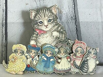 Lot Of 6 Kitty Cucumber Ornaments In Cat Shaped Trinket Box Container VTG 1984