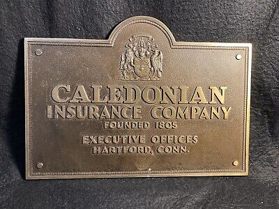 Insurance advertising caledonian Insurance Company Hartford Connecticut Plaque