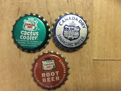 3 Different  Canada Dry  Soda Bottle Caps  - Unused - Cork  Lined