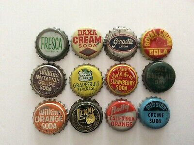 12 Different  Soda Bottle Caps  - Used - Cork  Lined - Fresca