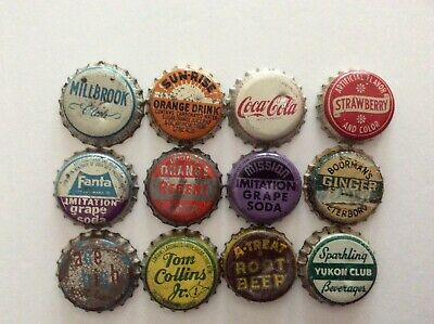 12 Different  Soda Bottle Caps  - Used - Cork  Lined - Millbrook
