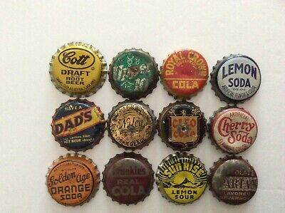 12 Different  Soda Bottle Caps  - Used - Cork  Lined - Cott