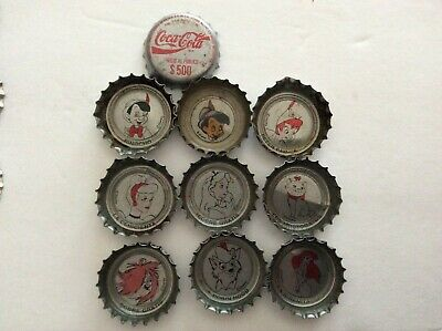 9 Different  Coca-Cola Disney Soda Bottle Caps  - Used - Plastic  Lined
