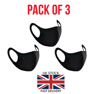 Face Mask Black Masks UK Reusable Washable Breathable Surgical Cover - Pack of 3