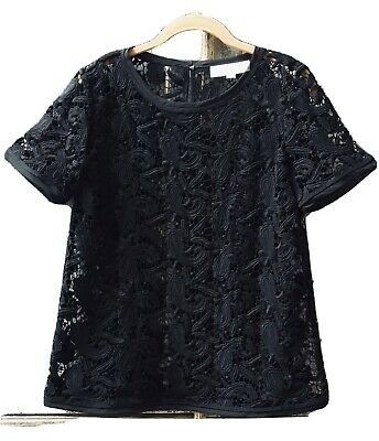 Loft Full Open Lace Black Short Sleeve Top Size Small