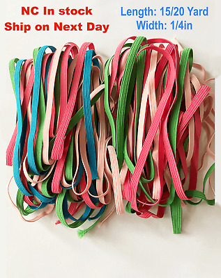 1/4 in 3 Color/4 Color Mix Elastic Band-15yard, 20yard-Blue, Pink, Green