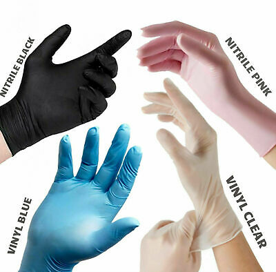 Medical Vinyl Disposable Gloves Powder Free Food Safe Latex Free Clear/Blue