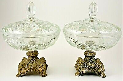Glass Compote Dish with Lid Metal Pedestal Hollywood Regency Matching Pair