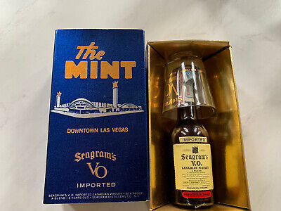 Seagrams Whiskey Vtg Rare 1956 Less Than 1/2 Pint Bottle The Mint Las Vegas
