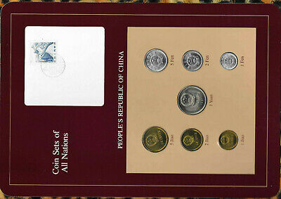 Coin Sets of All Nations China w/card 1977-1982 UNC 1 Yuan 5,2,1 Jiao 1981