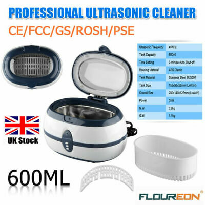 600ml Digital Ultrasonic Cleaner Timer Jewelry Watch Stainless Cleaning Tank UK