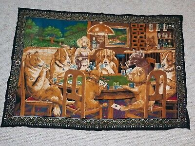 Vintage 70s 80s Dogs Playing Poker RARE Tapestry Funny Retro 56x38.5