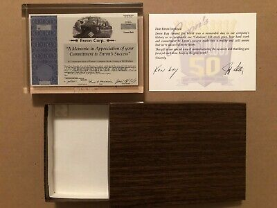 Enron Stock Commemorative Employee Momento In Lucite April 14, 1998 Kenneth Lay