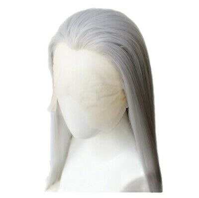 AU 24inch Synthetic Lace front wigs  Light Grey Handtied Natural Straight