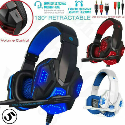 Gaming Headset For Xbox One PS4 Nintendo Switch PC 3.5mm Mic LED Headphones ☊ ♫