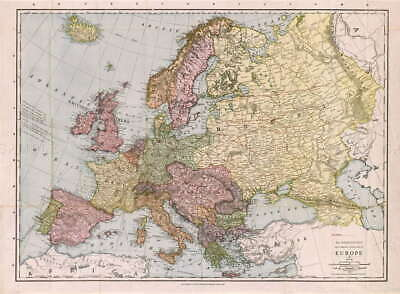 116557 MAP ANTIQUE McNALLY 1912 EUROPE OLD HISTORIC Decor LAMINATED POSTER CA