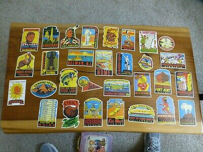 Vintage (Not Reproduction) Suitcase Travel Stickers Mostly USA Based 47 in all.