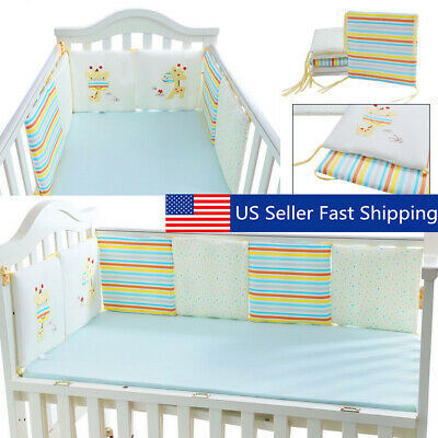6PCS Crib Bumper Protective Baby Nursery Bedding Comfy Infant Cot Pad   US USA