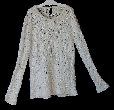 Girls Zara White Soft Cable Knit Crochet Style Warm Winter Jumper Age 7-8 Years