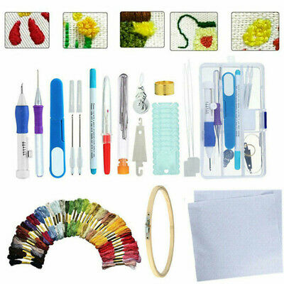 Embroidery Pen Needle SET Magic Flower Stitch Punch V5W3 Tools Sewing DIY T0Y9