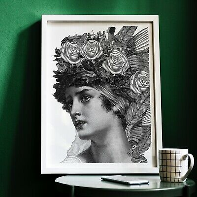 Vintage Lady engraving Print, Antique Collage Art - CHECK OUT MY SHOP!