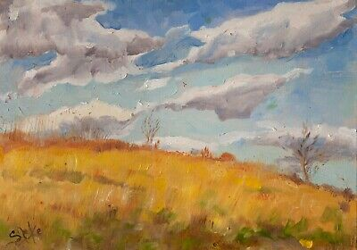 The hill - Original Oil on Canvas Handmade Landscape Impressionism Painting